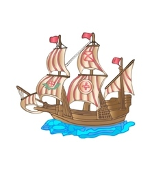 Old sailing ship Flat design vector image