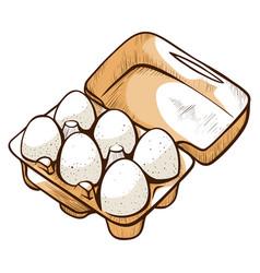 open box with chicken eggs ingredient food vector image