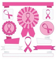 Pink awareness ribbons vector