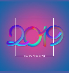 purple happy new year 2019 card with colorful vector image