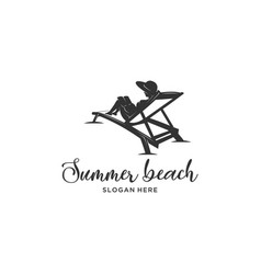 reading book summer beach vector image
