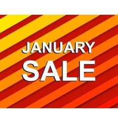 Red striped sale poster with JANUARY SALE text vector image