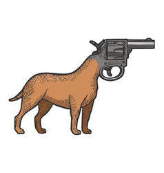 Revolver gun as dog head color sketch engraving vector
