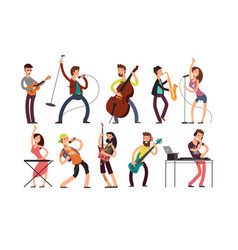 rock and pop musicians cartoon characters vector image