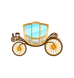 royal horse-drawn carriage with big cab and wheels vector image