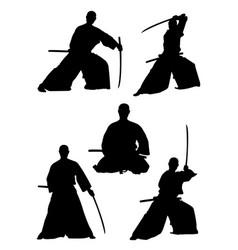samurai gesture silhouette 01 vector image