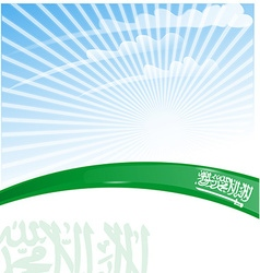 Saudi Arabia flag on sky background vector