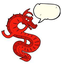 Saxon dragon cartoon with speech bubble vector