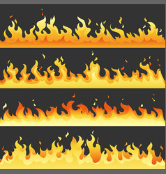 seamless hot fire flame set danger fire light vector image
