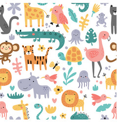 seamless pattern funny jungle animals vector image