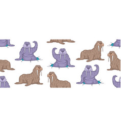 seamless pattern with walruses vector image