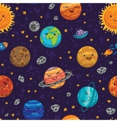 Seamless space pattern background with planets vector image