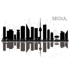 seoul city skyline black and white silhouette vector image