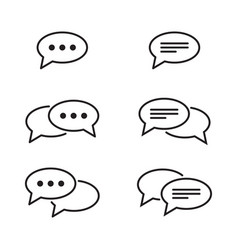 set chat and speech bubble line icons vector image