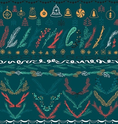 set christmas hand drawn floral set design vector image