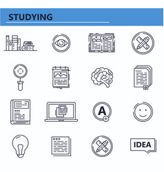 set education books knowledge icons in vector image