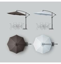 Set of Brown White Outdoor Beach Cafe Umbrella vector