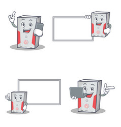 Set of computer character with phone laptop board vector