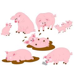Set of cute cartoon pigs vector
