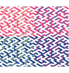 set of isometric maze with blue and pink edges vector image
