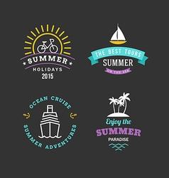 Set retro summer holidays hipster labels line vector
