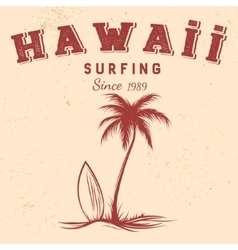 silhouette palm and surfboard with text hawaii vector image