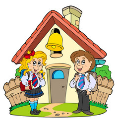 Small school with kids in uniforms vector