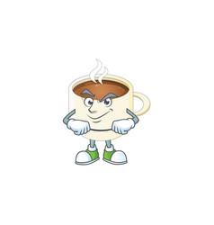 Smirking character cup coffee in cartoon mascot vector