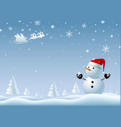 snowman looking at santa clause at winter vector image