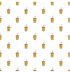 Soft drink in a yellow paper cup pattern vector