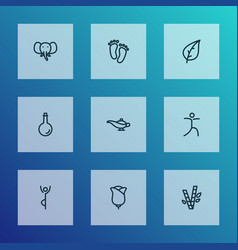 Spiritual icons line style set with meditating vector
