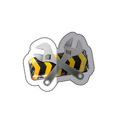 Sticker barrier icon line construction with set vector
