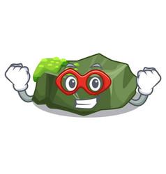 Super hero cartoon moss grow on sea rock vector