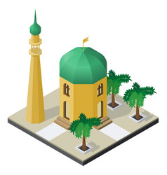 temple minaret and palm trees in isometric view vector image