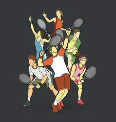 Tennis players men and women action graphic vector