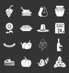 Thanksgiving icons set grey vector