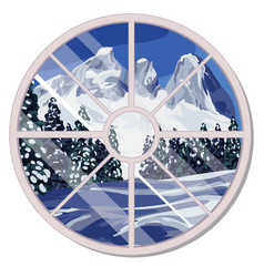 the round window overlooking the snow-covered vector image
