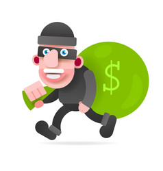 thief with a bag of money running from vector image