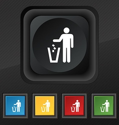 Throw away the trash icon symbol Set of five vector
