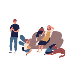tired mother having many children sitting on couch vector image