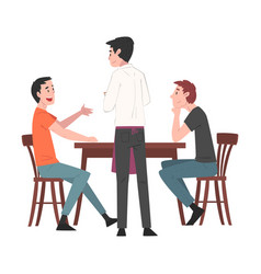 Two guys sitting at table in cafe and waiter vector