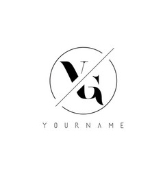 Vg letter logo with cutted and intersected design vector