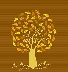 Vintage colors leaves tree vector image