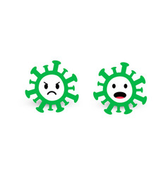 virus and bacteria icons green circles with angry vector image