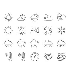 Weather charcoal draw line icons set vector
