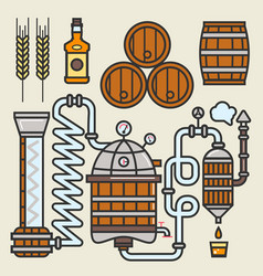 Whiskey production line or whisky making elements vector