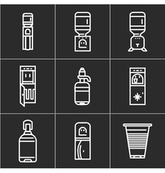 White simple line icons for water coolers vector image
