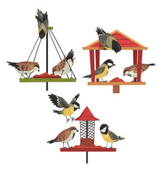 Winter bird feeder with chickadees and titmouses vector