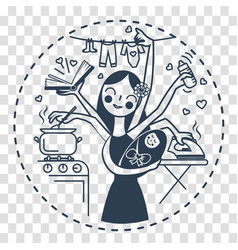 Woman icon with the child black vector