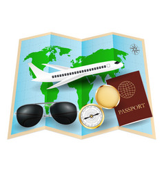 World map with sunglasses compass passport plane vector